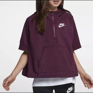 NIKE NSW Girls Sweatshirt Half-Zip Poncho Bordeaux